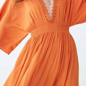 Crochet Lace-Trim Maxi Dress - Orange size small